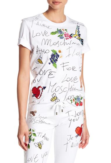 Imbracaminte Femei LOVE Moschino Je Taime Embroidered Tee OPTICAL WHITE
