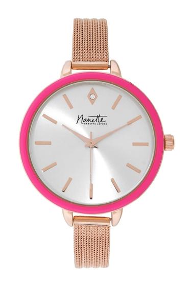 Ceasuri Femei NANETTE nanette lepore Womens Mesh Bracelet Watch ROSE GOLD-PINK