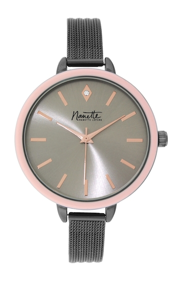 Ceasuri Femei NANETTE nanette lepore Womens Mesh Bracelet Watch GUNMETAL-PINK