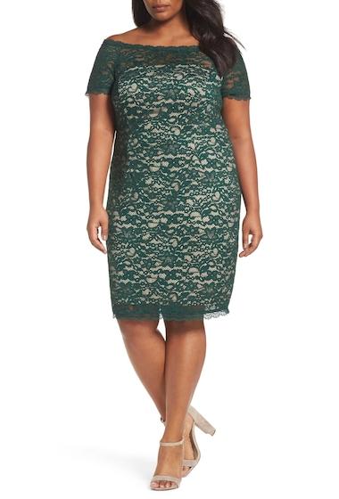 Imbracaminte Femei Adrianna Papell Off the Shoulder Lace Sheath Dress Plus Size HUNTERBSQE