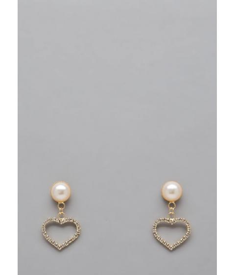Bijuterii Femei CheapChic Heart Of Hearts Faux Pearl Earrings Gold