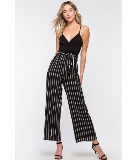 Imbracaminte Femei CheapChic Camille Stripe Wide Leg Jumpsuit Black Pattern