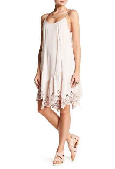 Imbracaminte Femei Love Stitch Embroidered Lace Hem Shift Dress WHITE SAND