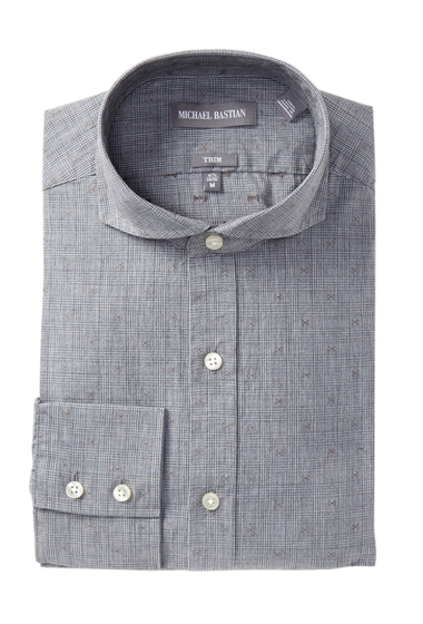 Imbracaminte Barbati MICHAEL BASTIAN Trim Fit English Plaid Dress Shirt GREY