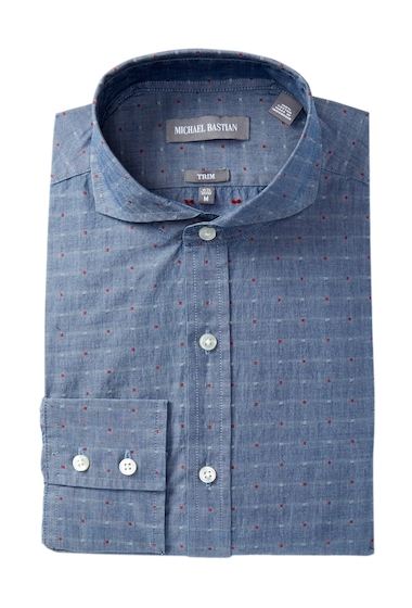 Imbracaminte Barbati MICHAEL BASTIAN Trim Fit Indigo Clip Dress Shirt INDIGO