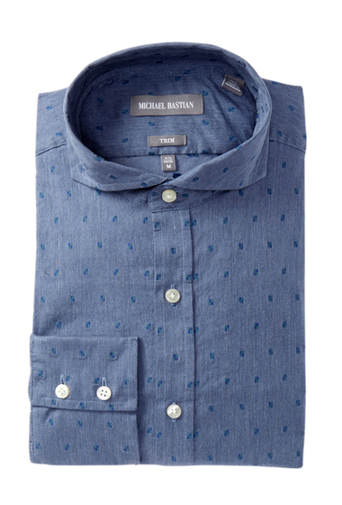 Imbracaminte Barbati MICHAEL BASTIAN Trim Fit Heathered Dress Shirt BLUE