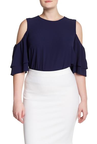 Imbracaminte Femei MICHAEL Michael Kors Solid Flounce Dress Plus Size TRUE NAVY
