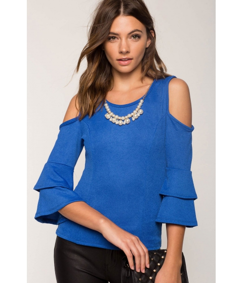 Imbracaminte Femei CheapChic Pearl Tiered Sleeve Cold Shoulder Top Royal