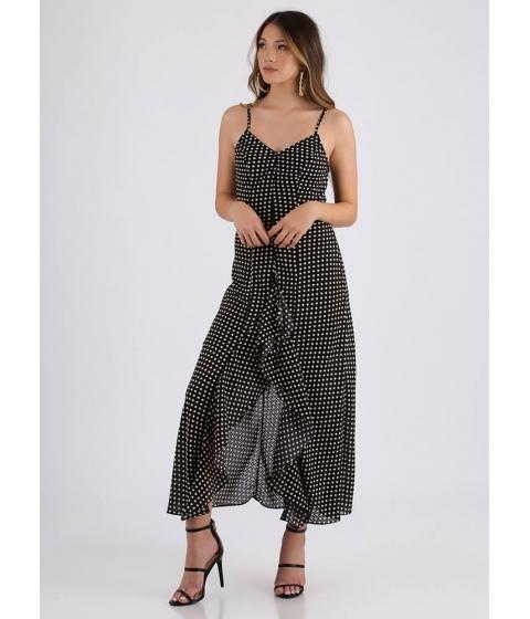 Imbracaminte Femei CheapChic Pretty In Polka Dots Ruffled Slit Maxi Black