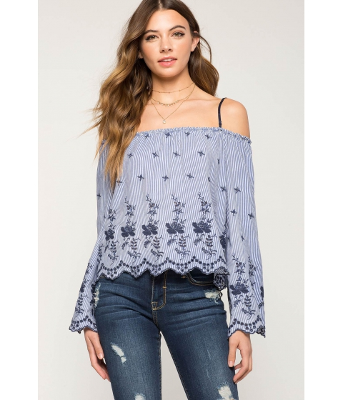 Imbracaminte Femei CheapChic Emma Embroidered Cold Shoulder Top Blue Pattern