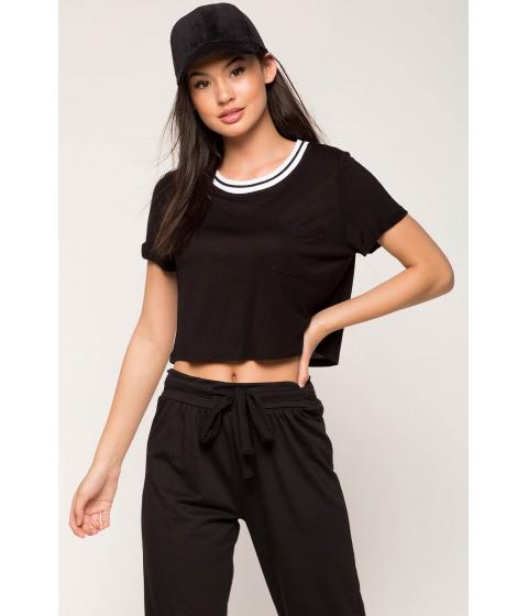 Imbracaminte Femei CheapChic Contrast Stripe Crop Top Black