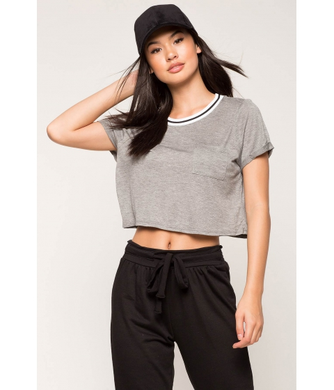 Imbracaminte Femei CheapChic Contrast Stripe Crop Top Gray