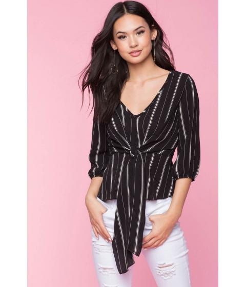 Imbracaminte Femei CheapChic Long Sleeve Stripe Tie Top Black Pattern