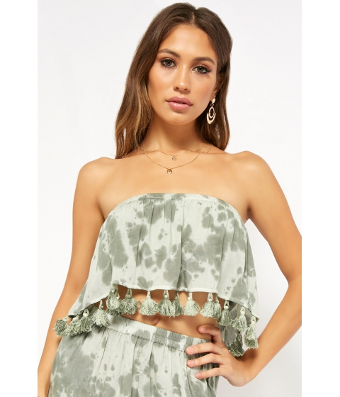Imbracaminte Femei Forever21 Boho Me Cloud Wash Tassel Tube Top GREENMULTI