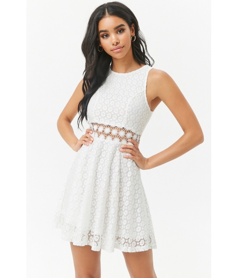 Imbracaminte Femei Forever21 Lace Fit Flare Dress WHITE