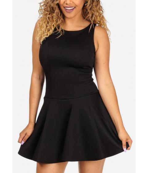 Imbracaminte Femei CheapChic Fit-and-Flare Black Sleeveless Round Neckline Stylish Mini Dress Multicolor