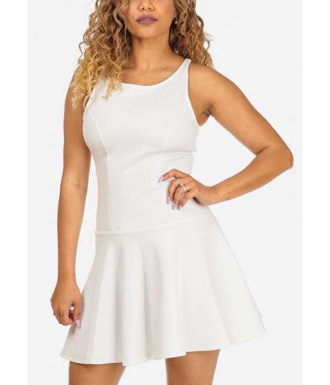 Imbracaminte Femei CheapChic Fit-and-Flare White Sleeveless Round Neckline Stylish Mini Dress Multicolor