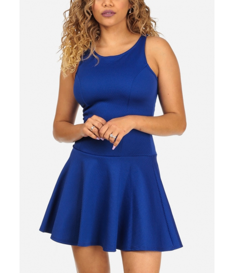 Imbracaminte Femei CheapChic Fit-and-Flare Blue Sleeveless Round Neckline Stylish Mini Dress Multicolor