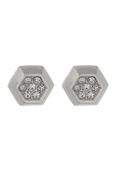 Bijuterii Femei Vince Camuto Small Crystal Accent Hexagon Stud Earrings SILVER 01