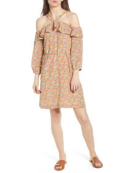 Imbracaminte Femei Madewell Forsythia Cold Shoulder Silk Dress WOODLAND LIGHT NECTAR