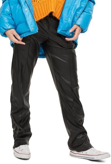 Imbracaminte Femei TOPSHOP Faux Leather Track Pants BLACK
