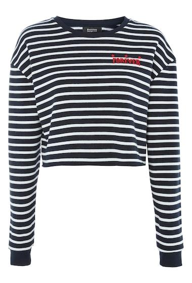 Imbracaminte Femei TOPSHOP Forever Stripe Crop Sweatshirt NAVY BLUE MULTI