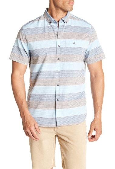 Imbracaminte Barbati MICHAEL BASTIAN Horizontal Stripe Short Sleeve Shirt UNIFORM BLUE
