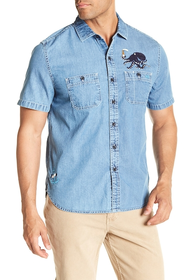 Imbracaminte Barbati MICHAEL BASTIAN Octopus Embroidered Short Sleeve Shirt INDIGO