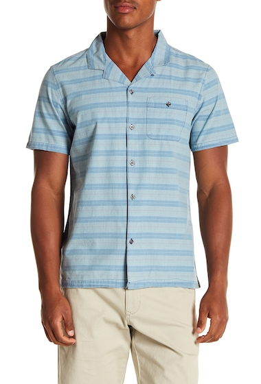 Imbracaminte Barbati MICHAEL BASTIAN Striped Short Sleeve Regular Fit Shirt SANDWASH