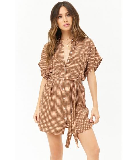 Imbracaminte Femei Forever21 Grid Print Shirt Dress SUNSET GOLDCREAM