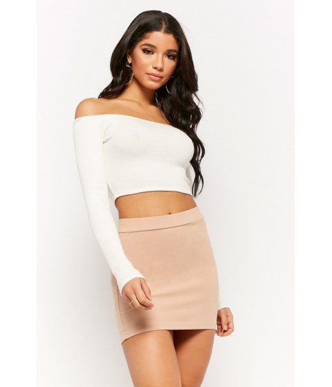 Imbracaminte Femei Forever21 Stretch-Knit Mini Skirt NUDE