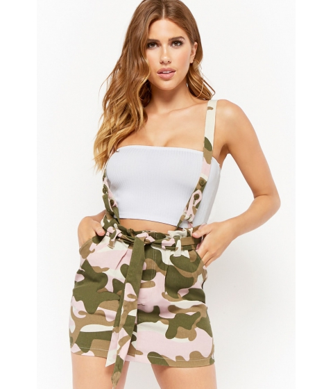 Imbracaminte Femei Forever21 Camo Suspender Mini Skirt PINKWHITE
