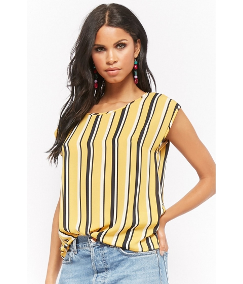 Imbracaminte Femei Forever21 Multicolor Striped Chiffon Top MUSTARDNAVY