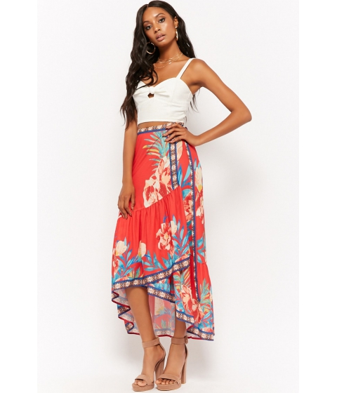 Imbracaminte Femei Forever21 Floral Wrap High-Low Skirt RED