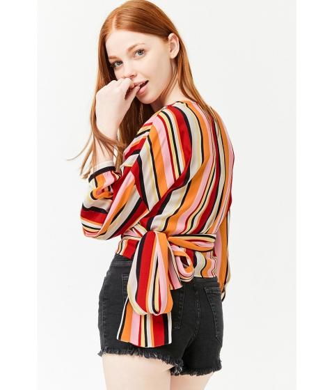 Imbracaminte Femei Forever21 Striped Wrap Top REDBLACK