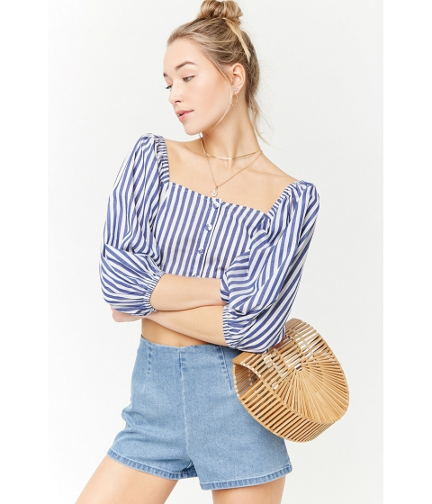 Imbracaminte Femei Forever21 Striped Off-the-Shoulder Crop Top WHITEBLUE