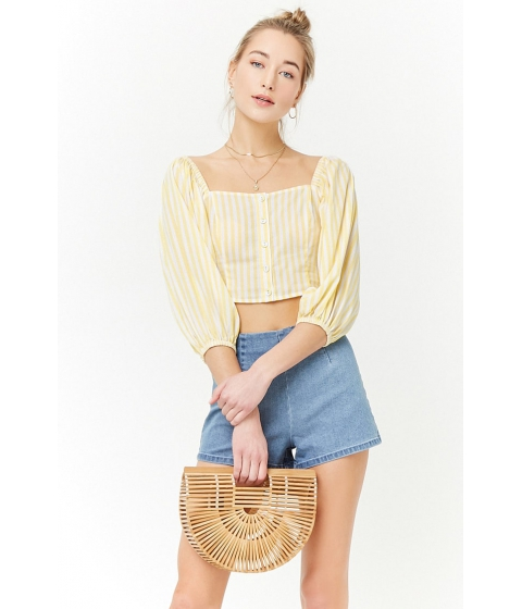 Imbracaminte Femei Forever21 Striped Off-the-Shoulder Crop Top WHITEYELLOW
