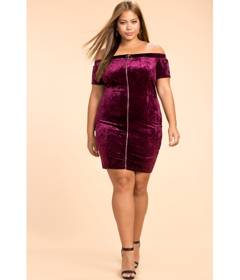 Imbracaminte Femei CheapChic Zipper Front Velvet Dress WineBurgundy
