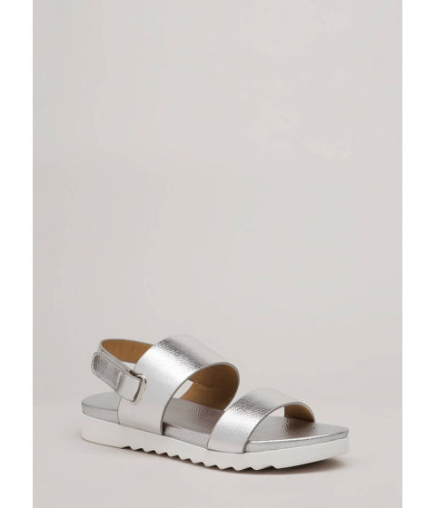 Incaltaminte Femei CheapChic Walk Out Wide Strap Metallic Sandals Silver