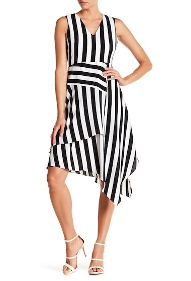 Imbracaminte Femei Vince Camuto Spectator Stripe Asymmetrical Hem Dress RICH BLACK