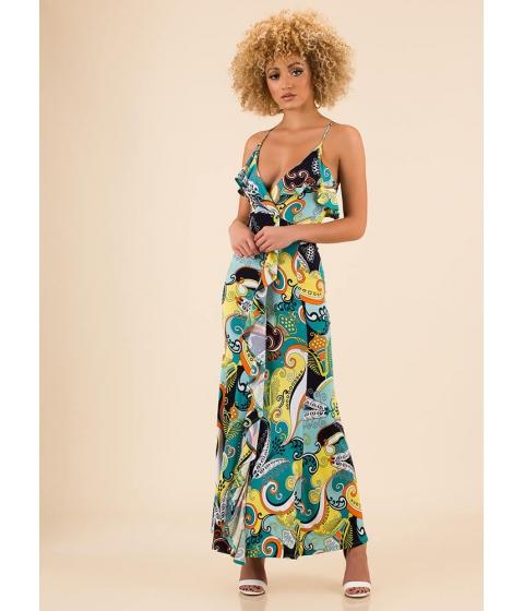 Imbracaminte Femei CheapChic Boys And Swirls Ruffled Print Maxi Dress Greenmulti