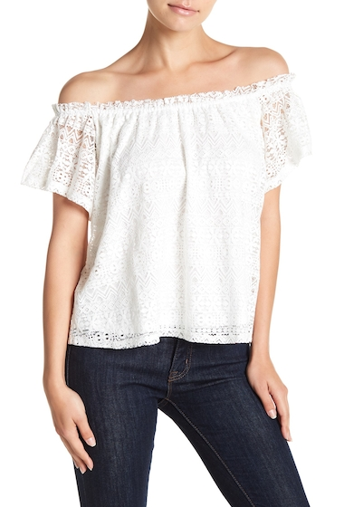 Imbracaminte Femei Melrose and Market Knit Lace Top Petite Sizes Available IVORY
