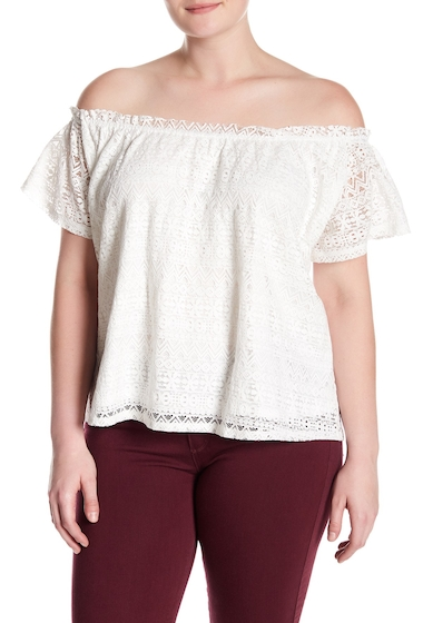 Imbracaminte Femei Melrose and Market Off-the-Shoulder Lace Blouse Plus Size IVORY