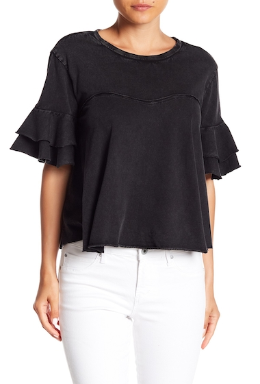 Imbracaminte Femei Abound Short Ruffle Sleeve Tee BLACK