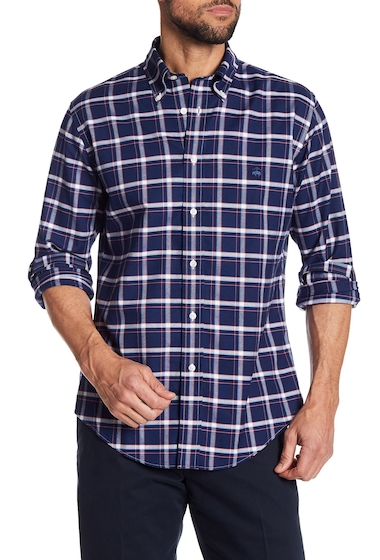 Imbracaminte Barbati Brooks Brothers Oxford Regent Checkered Print Regular Fit Shirt NAVY
