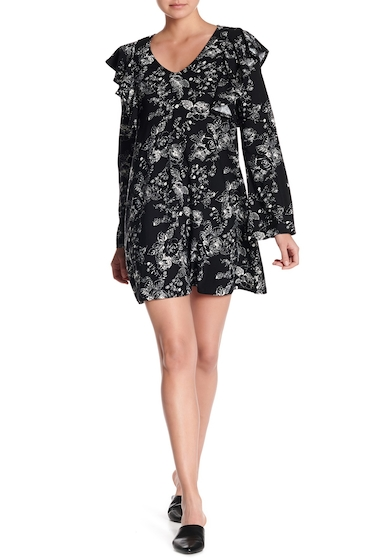 Imbracaminte Femei Free Press Ruffled Shift Dress BLACK ETCHED FL