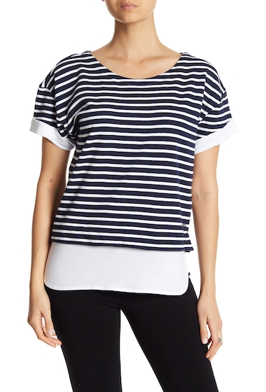 Imbracaminte Femei Marc New York Striped Contrast Tee MIDNT WHT