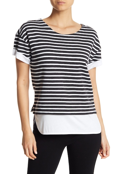 Imbracaminte Femei Marc New York Striped Contrast Tee CHA HTR WT