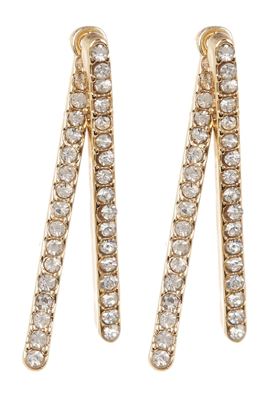 Bijuterii Femei Vince Camuto Crystal Accented Bar Front to Back Earrings GOLD 01