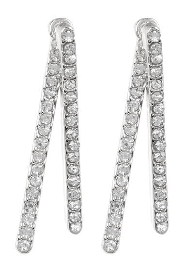 Bijuterii Femei Vince Camuto Crystal Accented Bar Front to Back Earrings SILVER 01